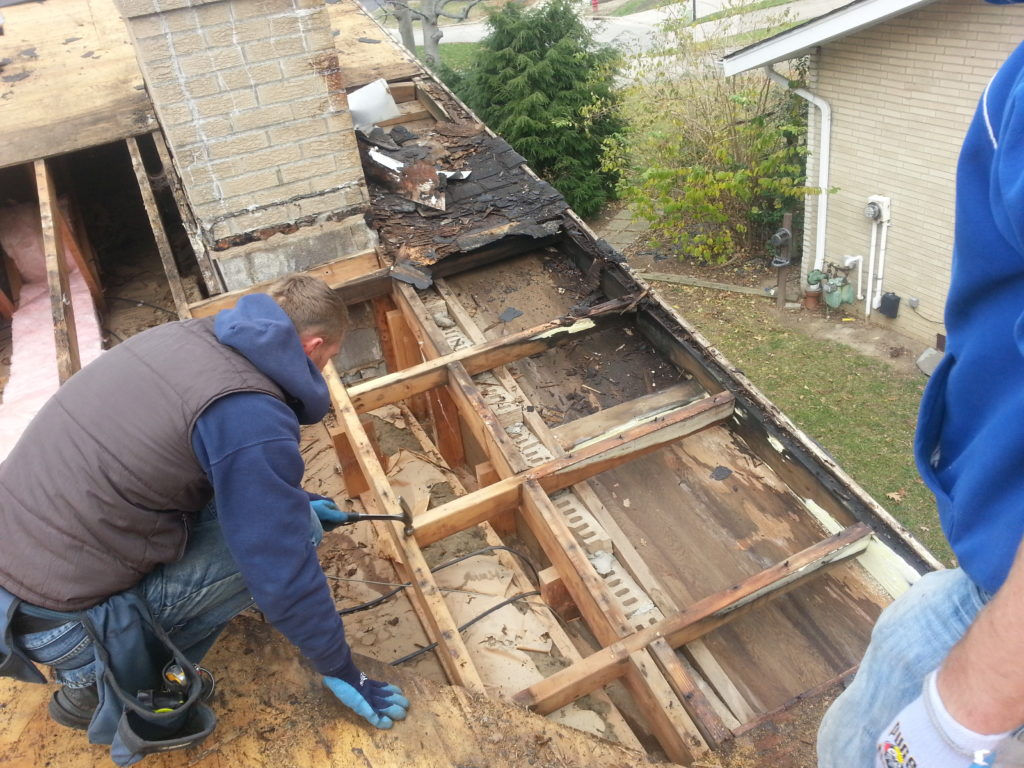 Roofing rotten wood chimney